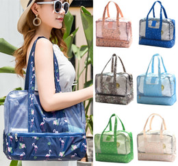 Large canvas fLoraL tote bags online shopping - 10 Styles Floral Tote Bag Storage Stuff Dry Wet Separation Picnic Swimming Beach Large Waterproof Shoulder Bag NNA490