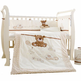 Baby Cot Bedding Set 7Pcs Cotton Crib Bedding Set Detachable Quilt Pillow  Bumpers Sheet Bed Linen Cot Bedding Set