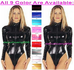 $enCountryForm.capitalKeyWord NZ - Sexy Black PVC Short Body Suit Costumes With Front Long Zipper New 9 Color Shiny PVC Short Suit Catsuit Costumes Unisex DH225