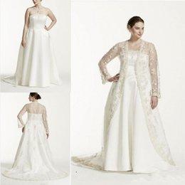 Опт Свадебные платья без бретелек A Line 2019 плюс размер две части Свадебные платья Свадебные платья с прозрачной кружевной курткой с длинным рукавом 100% НАСТОЯЩАЯ фотография