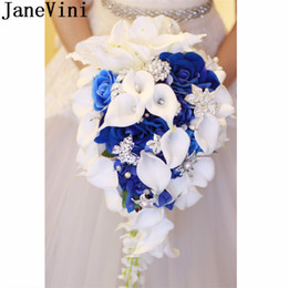 Discount roses calla lily JaneVini Royal Blue Waterfall Artificial Wedding Bouquet With Crystal Bride Flowers Roses Calla Lily Bridal Brooch Bouqu