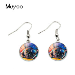 painted glasses 2019 - 2018 New Design Art Painting Cute Animal Hook Earring Art Animal Earring Jewelry Glass Printing Silver cheap painted gla