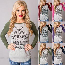 Christmas elk portrait letter printing womens funny tshirt long-sleeved  designer t shirts fashion plus size women clothing luxury t shirt 60a029c63