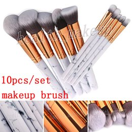 $enCountryForm.capitalKeyWord NZ - Ready Stock Hot 10pcs set Makeup Brushes Marble Making Up Powder Eyeshadow Palette Contour Concealer Blush Brush Cosmetic Tool Free Shipping
