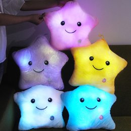 Valentine Pillows Gift Canada - Birthday Toys Gift Colorful Star Shape Toys Star Glowing LED Luminous Light Pillow Relax Gift Smile Body Pillow Valentines