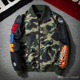Vintage flying jackets online shopping - men and women Casual baseball uniform Hip hop fashion jacket Vintage patch big shark flying jacket new style