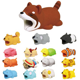 Dog rabbits online shopping - Cable Bite Protector for Iphone cable Winder Phone holder Accessory chompers rabbit dog cat Animal doll model funny