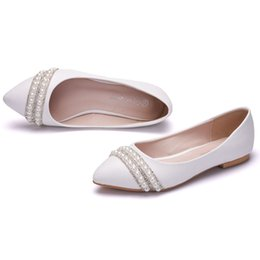 flat pearls white Australia - New Fashion Suitable Women Flats White Pearls Pointed Toe Beading Flat Crystal wedding shoes Plus Size