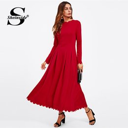 04c16a2db3 X Sheinside Bright Red Long Sleeve Party Dress Office Ladies Round Neck Fit  and Flare High Waist Scallop Edge Women Autumn Dress