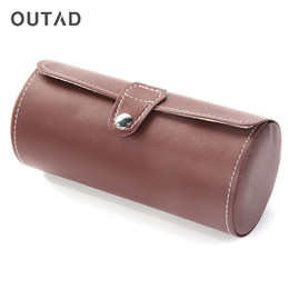 Wholesale OUTAD Cylinder Shape Grids PU Leather Watches Display Case Boxes Storage Box Luxe Horloge Case Jewelry Organizer Dozen