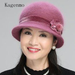Rabbit Fur Scarves Caps NZ - Kagenmo Cap Scarf Twinsets Mother's New Year Gift Thick Knitting Rabbit Fur Warm Sets Fashion Outdoor Keep Warm Women Hat Scarf