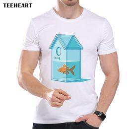 b86d616f Goldfish In A Glass Birdhouse Shaped Aquarium Funny Joke Men T Shirt Tee  Cool xxxtentacion tshirt Brand shirts jeans Print