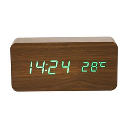 Electronic Voice NZ - Wooden Digital LED Alarm Clock Voice-activated Electronic Wooden Alarm Clock Temperature Display Desk Table Clocks