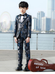 Discount boy fashion dress image - Fashion Autumn Winter Warm Boys Jacquard Suits Five-Piece (Blazer+Vest+Shirt+Pant+Bow Tie) Tuxedos One Button Peaked Lap