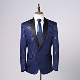 fly suits NZ - Elegant Dark Blue Men Suits Shawl Collar Slim Fit Suits One Button 2 Pieces Suits(Jacket+Pants) for Wedding Tuxedos