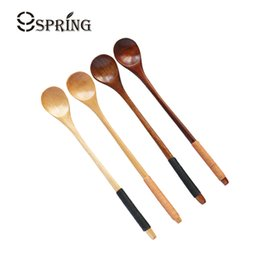 China Set Of 6 Long Handle Wooden Spoon Japanese Style Coffee Tea Spoon Natural Wood Dessert Honey Spoon Bar Tableware Accessories cheap japanese tableware sets suppliers