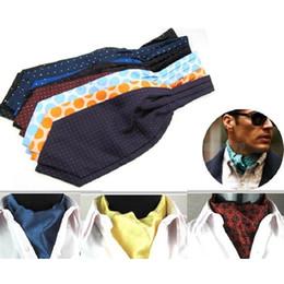 Discount polka dot dress shirts for men - leisure tie for men men's cravat polyester ascot suit accessories business wide necktie brand neckwear man ties dre