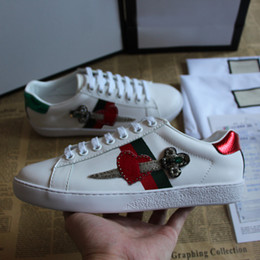 italian fabrics 2019 - 2018 TOP Fashion Brand Ace Embroidered White Arrow Heart Leather Sneaker Luxury Shoe Casual Italian Shoes Man And Woman