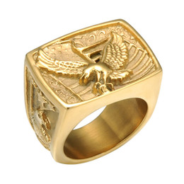 $enCountryForm.capitalKeyWord NZ - Hip Hop Punk Biker Hawk Ring Claw Evil Biker Eagle Ring Gold Color Stainless Steel Freedom Animal Males Heroic Ring Unique Jewelry Gifts