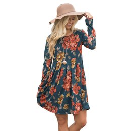 Chinese  Women floral dress long sleeve oversize loose girl fashion dress rose printed O-neck mix color floral shirt manufacturers