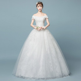 aea6519234a Factory Outlet Korean Women Lace Wedding Dress A line Bateau Emboridery  Flower Plus Size Garden Wedding Ball Gown Dresses floor length W49