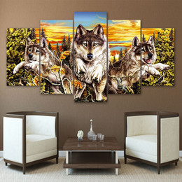 $enCountryForm.capitalKeyWord NZ - 5 Pcs Set Framed Printed Sunset Animal Wolf original picture Painting wall art room decor print poster picture canvas Free shipping