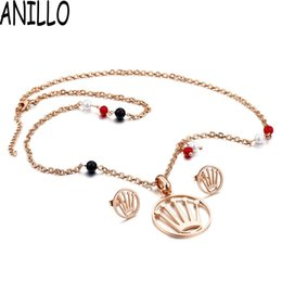wholesale stainless steel necklace sets UK - ANILLO Women Crown Hollow Out Necklace Earrings Rose Gold Inlay Beads Stone Stainless Steel Pendant Chain Jewelry Sets