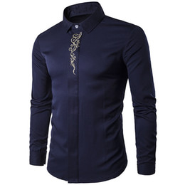 Chinese  Vintage Men Shirt Floral Print Chinese Style Mature Man Office Shirts Dark Blue Male Blusa Wedding Wear 2018 Hot Sale Boy Blouse manufacturers