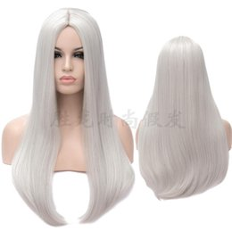 lifelike wigs NZ - Fashion Classic Long Straight Wigs Natural Lifelike Silver Cosplay Wig