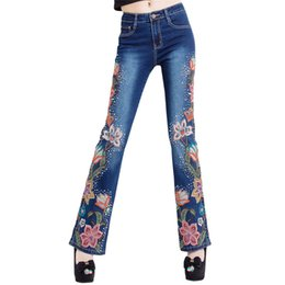 115fe06aaf New Woman Jeans Bell Bottom Jeans Embroidered Hand Bead High Stretch Womens  Flared Pants Ladies Flowers Embroidery Blue Jeans