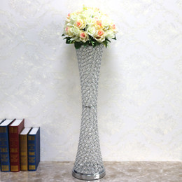 "$enCountryForm.capitalKeyWord Australia - 6pcs lot 29.52"" tall Gold Silver color crystal beaded Canton Tower vase wedding table centerpiece crystal flower stand holder"