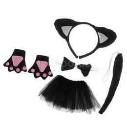 $enCountryForm.capitalKeyWord Australia - Christmas Girls Kids Birthday Black Cat Costume Set Ear Headband TUTU Skirt Bowtie Gloves Tail Fancy Dress Outfit