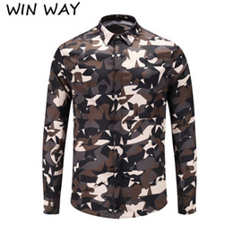 Win Shirt NZ - Win Way European and American show men's shirts casual 3D camouflage floral digital printing Joker tide long sleeve shirt