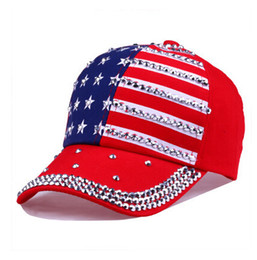 Baseball Caps American Flag Star Pattern Baseball Cap Rivet Printed Women  Men Snapback Hip Hop Hats a2ecc400e376