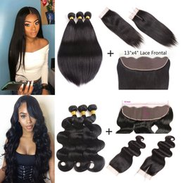 $enCountryForm.capitalKeyWord Australia - Malaysian Virgin Hair 3 Bundles with Lace Frontal Closure Straight Body Wave Hair Weaves Brazilain Hair Bundles with Closure Natural Color