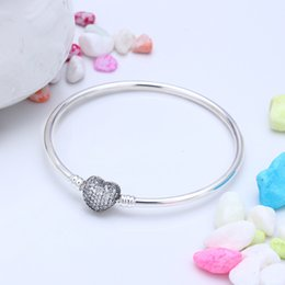 Love moment online shopping - Authentic Sterling Silver Moments Silver Bangle with Pave Heart Clasp Fit DIY Charms Beads Jewelry