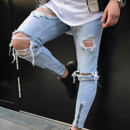 Jogger Jeans Ripped Mens Canada - Brand Designer Slim Fit Ripped Jeans Men Hi-Street Mens Distressed Denim Joggers Knee Holes Washed Destroyed Motor Biker Jeans J180639