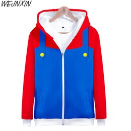 China WEJNXIN Super Mario Sweatshirt Men Women Auturm Winter 3D Cosplay Zipper Hoodies With Hat Long Sleeve Loose Tracksuit supplier super woman cosplay suppliers