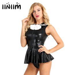 7535107901b 3Pcs Women Adults School Girl Costume Shining Faux Leather Cosplay Sexy  Costume Uniform Sleeveless Mini Dress with G-string C18111601