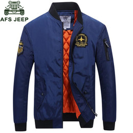 Mens Collared Jackets Canada - Afs 2018 Mens Bomber Jackets Autumn Winter Warm Windbreaker Coat Male Plus Size M-4XL Stand Collar Fashion veste homme