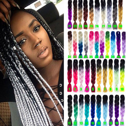 expressions synthetic braiding hair NZ - Ombre Xpressions Kanekalon Braiding Hair Bulk 24'' 100g Ombre Gray Synthetic Expression Braiding Hair Extensions Box Braids