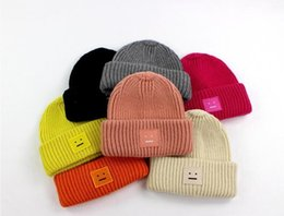 Boys Skull Hats NZ - Hot Sell Winter Boys and girls Hats for Children Solid Color square smile face Knitted hats cashmere thickening Beanies Skull Caps Warm Cap