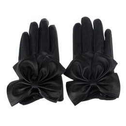 Soft fingerleSS gloveS online shopping - Brand new Fashion Mittens Women Ladies Winter Butterfly Bow Wrist Black Soft Leather Gloves
