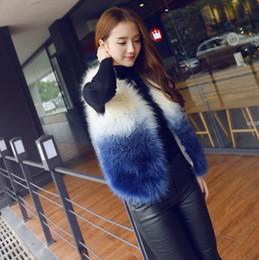 Black Button eyes online shopping - New design women s fashion faux fox fur gradient color sleeveless short fur coat vest plus size ML