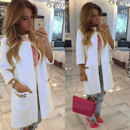 ladies simple jacket 2019 - New Design Women Fashion long Jackets Ladies Knitted Cardigan Loose Outwear Jacket Coat Tops Candy Color Simple Style ch