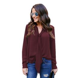$enCountryForm.capitalKeyWord NZ - Women Tops Spring Shirts Casual Pullover Long Sleeve Tie V Neck Shirt Office Work Business Slim Blouses Female Chiffon Blusas