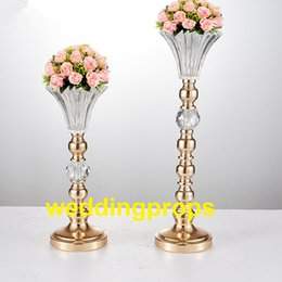 white wedding candelabras NZ - NewGold Silver color crystal beaded flower stand candlestick candelabra candle holder wedding table centerpieces crystal decor vase best0121