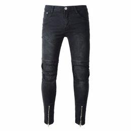 $enCountryForm.capitalKeyWord UK - HOT 2018 Fashion Casual Slim Men wear Denim holes torn leg Zipper Pleated hip hop jeans cowboy straight men's trousers