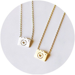 camera pendants wholesale Australia - 10pcs Gold Silver Love Camera Necklaces Cute Photographs Pictures Shooting Clavicle Jewelry Accessory Necklaces for Favors