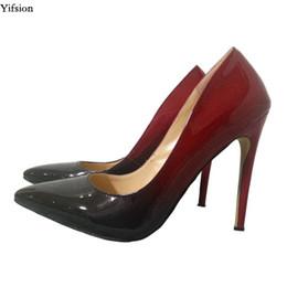 0b027f010e150b Yifsion Nouvelle Mode Femmes Brillant Escarpins Stiletto Chaussures À Talons  Hauts Sexy Bout Pointu Vin Rouge Party Chaussures Femmes Plus US Taille 5-15